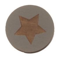 Holzcabochon, rund, Durchmesser 20 mm, Motiv Stern, grau