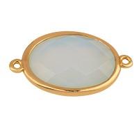 Edelstein Armbandverbinder Oval, Opalit 26 x 15 mm, zwei Ösen, Fassung goldfarben