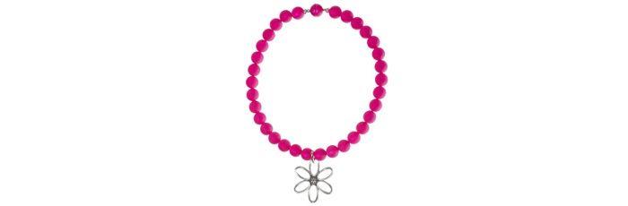 Clip-Kette Blume Himbeer