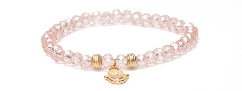 Armband Hamsa Vergoldet Facettperlen Rosa