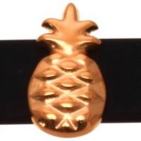 Metallperle Slider Ananas, 16,5 x 9 mm, vergoldet