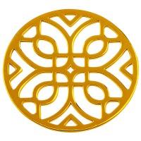 Metallanhänger Rund mit filigranen geometrischen Motiven, Durchmesser 44 mm, vergoldet