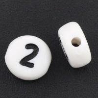 Kunststoffperle Zahl 2, runde Scheibe, 7 x 3,7 mm, weiß mit schwarzer Schrift