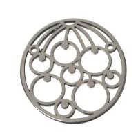 XXL-Metallanhänger Blume, 48 x 42 mm, versilbert