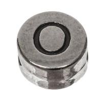 Metallperle, rund, Buchstabe O, Durchmesser 7 mm, versilbert