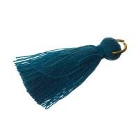 Quaste/Troddel, 25 - 30 mm, Baumwollgarn mit Öse (goldfarben), jeansblau
