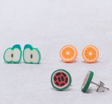 Ohrstecker mit Tiny Food Cabochons selber machen