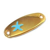 Metallanhänger / Armbandverbinder, Seestern, 34 x 14 mm, vergoldet, türkis emailliert