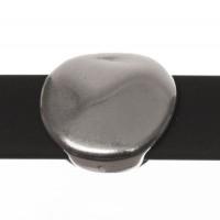 Metallperle Slider / Schiebeperle Scheibe, versilbert, ca. 14 x 14,6  mm