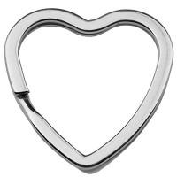 Edelstahl Schlüsselring Herz, silberfarben, 31 x 31 x 3 mm, Innendurchmesser: 25 x 23 mm
