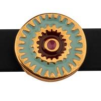 Metallperle Slider / Schiebeperle Scheibe Boho, vergoldet, emailliert, ca. 17 mm