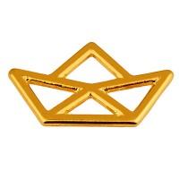 Metallanhänger Papierboot, 21,5 x 12,5 mm, vergoldet
