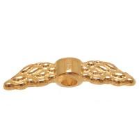 Metallperle Engelsflügel, 12 x 3 mm, goldfarben