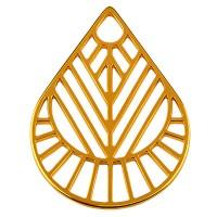 Metallanhänger Tropfen mit geometrischem Muster, 55 mm, vergoldet