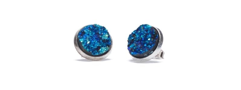 Ohrstecker mit Cabochons Druzy Blue