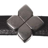 Metallperle Mini-Slider Blume, versilbert, ca. 7,5 x 7,5 mm
