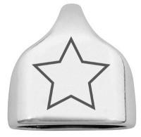 """Endkappe mit Gravur """"Stern"""", 22,5 x 23 mm, versilbert, geeignet für 10 mm Segelseil"""