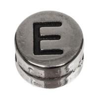 Metallperle, rund, Buchstabe E, Durchmesser 7 mm, versilbert