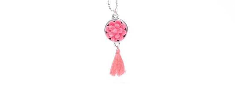 Kette mit Anhänger Blumencabochon Pink