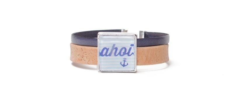 Armband mit viereckigem Glascabochon Ahoi
