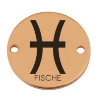 """Coin Armbandverbinder Sternzeichen """"Fische"""", 15 mm, vergoldet, Motiv lasergraviert"""