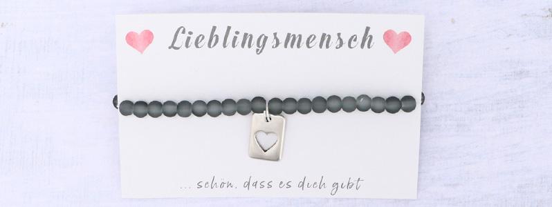 "Valentinstagarmband ""Herz"" grau"