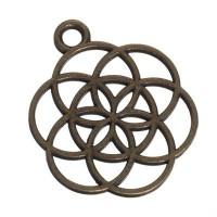 CM Metallanhänger Blume des Lebens, 25 x 20 mm, bronzefarben