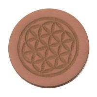 Holzcabochon, rund, Durchmesser 20 mm, Motiv Blume des Lebens, rosa