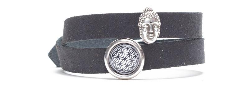 Craft Lederarmband für Slider Perlen Buddha Schwarz