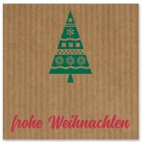 """Schmuckkarte """"Frohe Weihnachten"""", braun mit Tannenbaum, quadratisch, Größe 8,5 x 8,5 cm"""