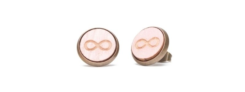 Ohrstecker mit Holzcabochons Infinity