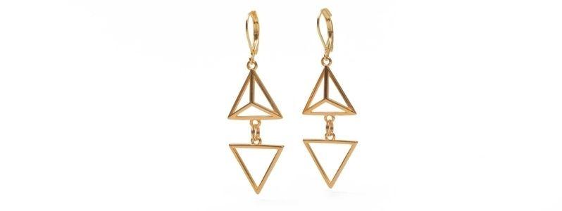 Geometrics-Ohrhänger Doppeldreieck Vergoldet