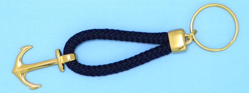 Maritimer Schlüsselanhänger mit Tau und Anker vergoldet