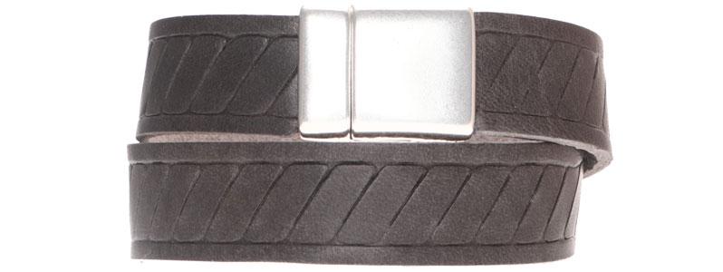 Lederarmband mit geprägtem breitem Lederband Classic grau