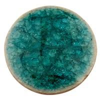 Keramikcabochon, Rund, blaugrün, Durchmesser 25, Höhe 3 mm