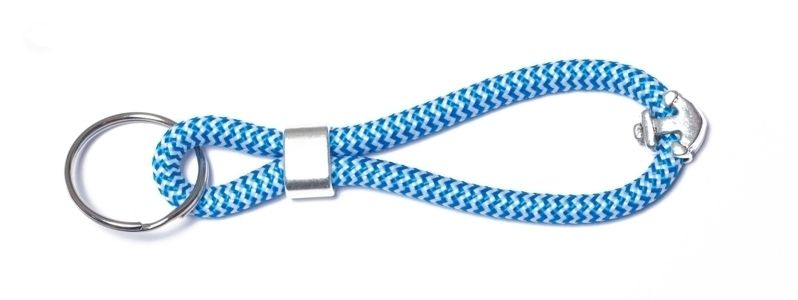Schlüsselanhänger aus Segelseil Blau-Weiß