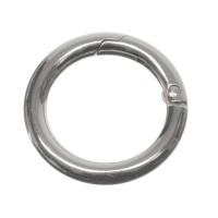 Schlüsselring, rund, Karabiner, Durchmesser 35 mm, versilbert