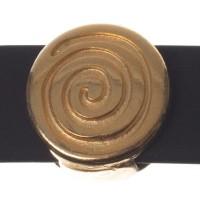 Metallperle Slider / Schiebeperle Schnecke, vergoldet, ca. 12 x 11 mm