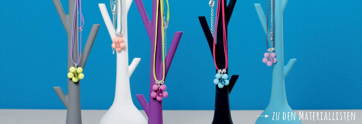 Blumenanhänger aus Polaris Gala Sweet Perlen mit Modellierdraht biegen