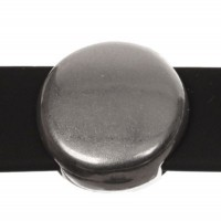 Metallperle Slider / Schiebeperle Scheibe, versilbert, ca. 14 x 14 mm