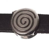 Metallperle Mini-Slider Schnecke, versilbert, ca. 8 x 8 mm, Durchmesser Fädelöffnung:  5,2 x 2,0 m