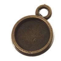 Anhänger für Cabochons, rund 8 mm, bronzefarben