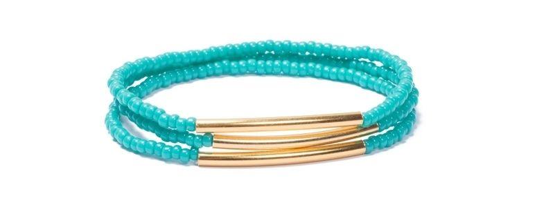 Armband mit Rocailles Gold-Türkis