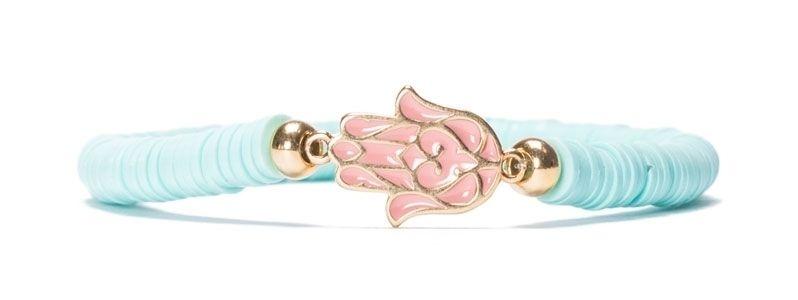 Armband mit Katsuki Perlen Türkis und Hamsahand