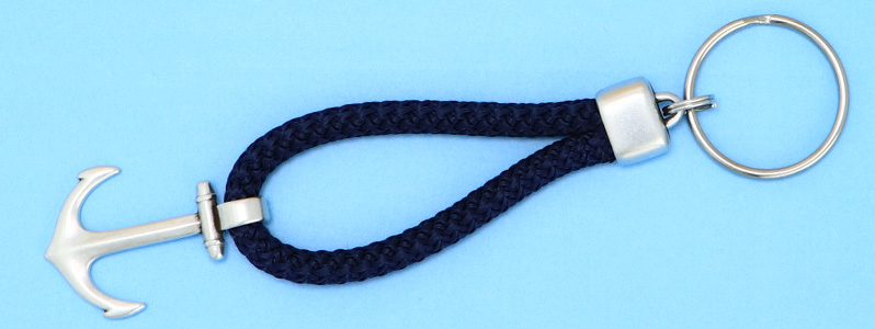 Maritimer Schlüsselanhänger mit Tau und Anker versilbert