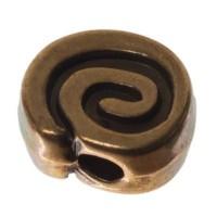 Metallperle Schnecke, ca. 14 mm, bronzefarben