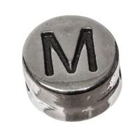 Metallperle, rund, Buchstabe M, Durchmesser 7 mm, versilbert