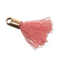 Quaste/Troddel, 18 mm, Baumwollgarn mit Endkappe (goldfarben), rosa