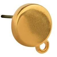 Ohrstecker Rund, 10 mm mit Öse, mit Titanstecker, vergoldet