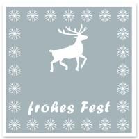 """Schmuckkarte """"Frohes Fest"""", grau mit Hirsch, quadratisch, Größe 8,5 x 8,5 cm"""